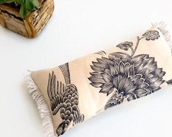 """Toile Small Lumbar Pillow - Decorative Pillow - Toile De Jouy Pillow - Boho Decor - Black and White Pillow - Throw Pillow - 30X15 cm (12X6"""")"""