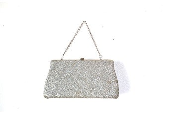 Silver Clutch, Silver Purse, Glitter Clutch,  silver evening bag, formal bag  60s Vintage Silver Clutch, Vintage Silver Purse