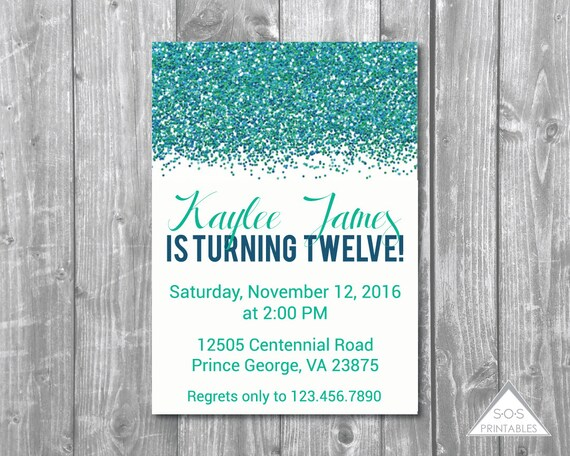 Teal Glitter Birthday Invitation Birthday Invite Modern