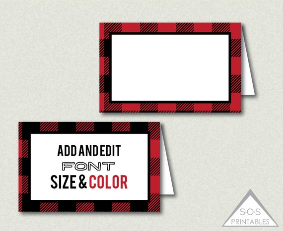 buffalo plaid tent Labels Place Cards Name Cards by SOSPrintables