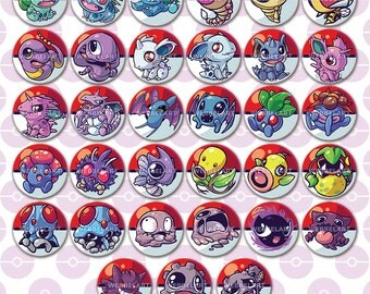 First generation Poison type pokemon buttons 38mm