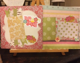 Two premade girl scrapbook pages