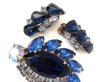 Vintage Shades of Blue Rhinestone Demi