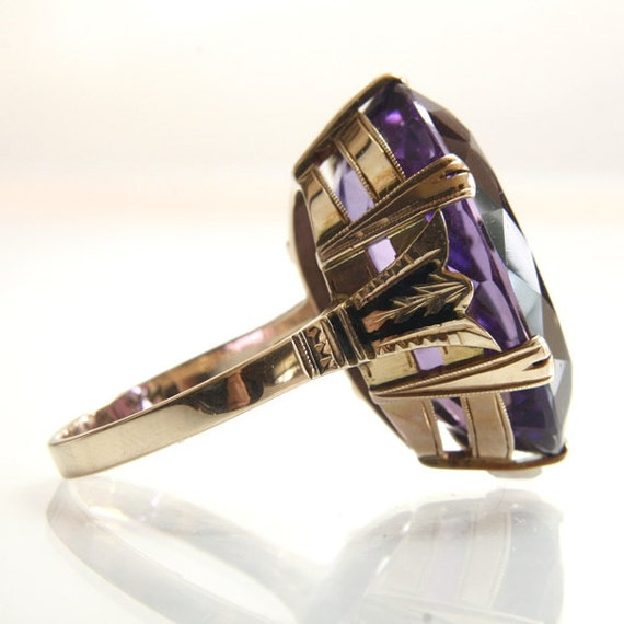 antique amethyst engagement ring 14k rose gold with black. Black Bedroom Furniture Sets. Home Design Ideas
