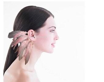 Ear Cuff, Feather Ear Cuff, Pink  Ear Cuff, Earrings, Feather Earring , Boho Hippy Ear Cuff, Fairy Ear Cuff, Woodland Ear Cuff