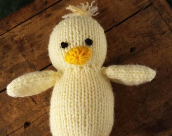 Knitted Chick Lovie, Newborn Photoprop Chick, Knitted Baby Chick Stuffed Animal