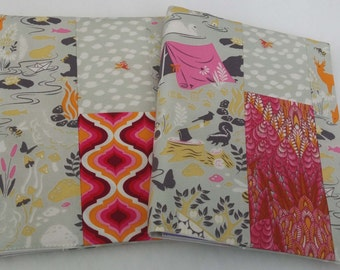 Original handmade  journal diary visual art book cover - A5 size Tula Pink Moonshine Forest Frivolity in grey with pinks