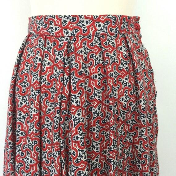 """Vintage skirt flared knee length skirt brushed cotton tile print handmade high waisted 1940s 1950s day full skirt 26"""" waist ladybird button"""