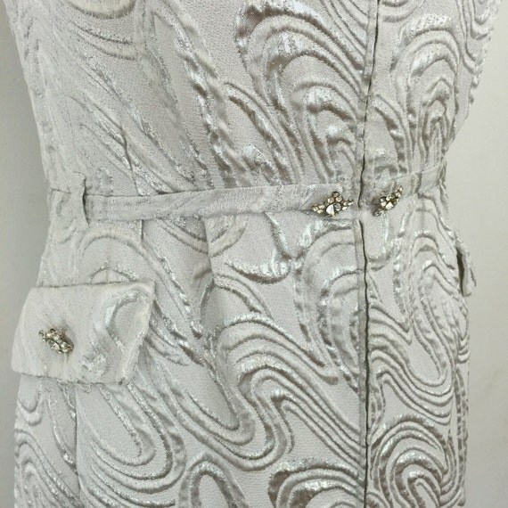 1960s dress Frank Usher silver lamé long evening gown psychedelic swirly GoGo 60s print UK 10 12 Mod vintage wedding bridesmaid scooter girl