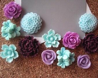 Thumbtack Set, 12 pc Flower Pushpins, Lilac, Plum, Lavender and Aqua, Office Supply, Bulletin Board Thumbtacks, Wedding Decor, Small Gift