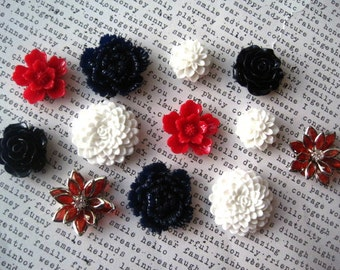 Flower Magnets, 12 pc Fridge Magnets, Red, White and Navy Blue Decor, Housewarming Gifts, Hostess Gifts, Wedding Favors