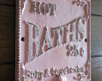 ON SALE TODAY Shabby Chic Bathroom Hook / Cast Iron Sign / Towel Wall Hook / Pale Pink /Distressed/ Metal Wall Hook /Bathroom Hook / Fixture