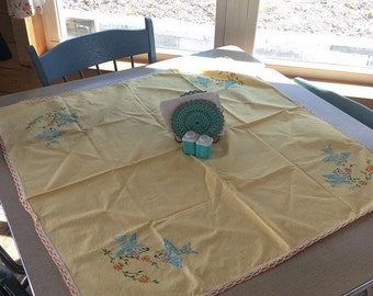 Vintage Embroidered Bird Tablecloth