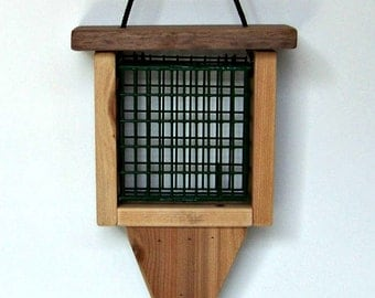 Feeder Suet Hanging Hand Crafted Cypress, Walnut Trim Made in U.S.A.  Easy Fill Vinyl Coated Quality Basket Holds 1 standard suet cake