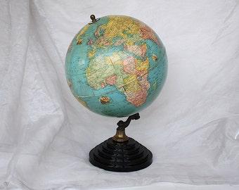 Rare Globe - Vintage World Globe - Rand McNally Globe - Decorative World Globe - Terrestrial Globe -World War 2 Era Globe -World Globe Decor