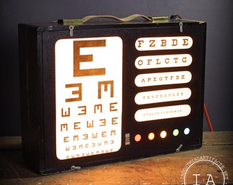 Vintage Green Test Cabinet Co Lighted Children's Optical Chart Eye Exam No 103
