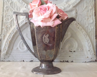 Lovely antique shabby cottage farmhouse silver plated and monogrammed pitcher