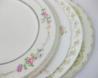 Mismatched China Dinner Plates, set of 4, Wedding Decor