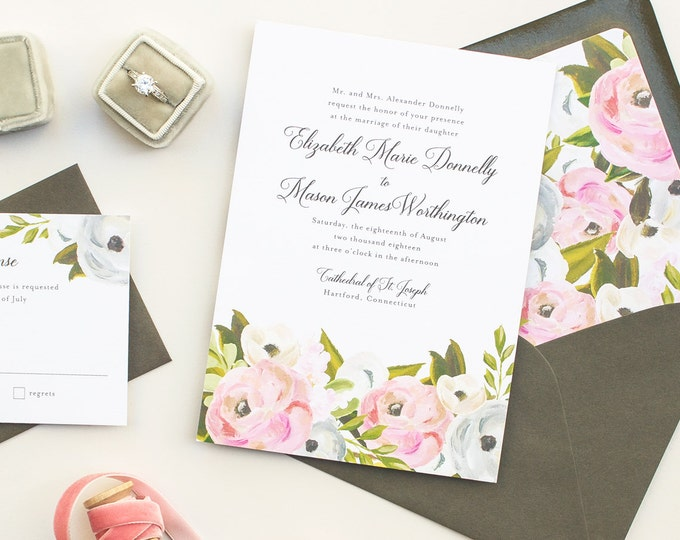 Elegant Wedding Invitations with Hand Painted Florals, Romantic Invitations in Pink, Watercolor Flowers Invitation Suite, DEPOSIT | Blooming