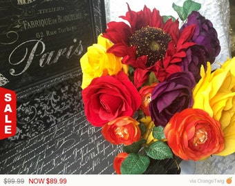 Sale -  Fall Wedding Bouquet, Orange Red Yellow Bouquet, Fall Sunflower Bouquet, Yellow Bouquet, Fall Orange Bouquet, Red Orange Bridal bouq