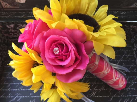 Sunflower And Pink Rose Bouquet Sunflower Bouqu...