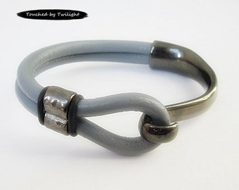 Gray Leather Wrap Bracelet - Double Strand 5mm Licorice Leather,Long Black-Plated Hook Clasp, Leather Cuff Bracelet