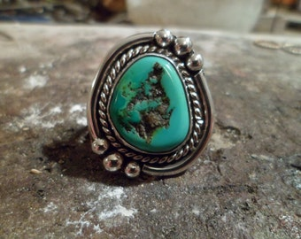 Authentic Navajo,Native American Southwestern sterling silver turquoise nugget ring. Size 10 1/4.Can be adjusted.Men or women