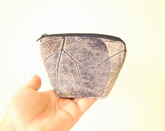 Cute little fabric wallet, cosmetic zipper pouch, small cosmetics pouch, hand printed , hand stamped fabric, big leaves print