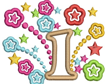 first anniversary, number applique  - Machine Embroidery Design, instantly download