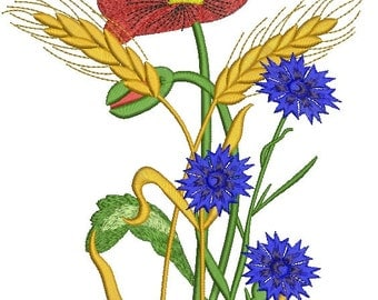 bouquet of wild flowers and ears of wheat  Machine Embroidery Designs