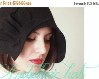 On sale Women felt hat handmade / vintage style black  felt cloche hat