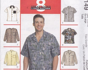 McCalls 2149 Vintage Pattern Mens Button Down Shirts in 8 Variations Size X Large (46 - 48) UNCUT