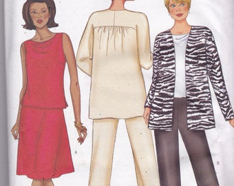 Butterick 6939 Vintage Pattern Womens Loose Fitting jacket, Top Pants and Skirt Size 14,16,18 UNCUT