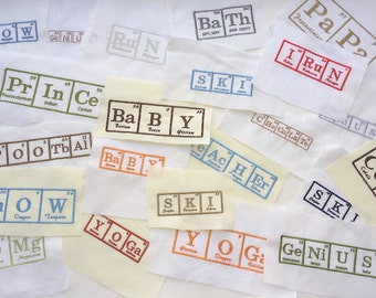 Periodic Table of Elements Embroidered Squares for Quilt squares, Pillow trimming, bag making or other crafts. periodic table fabric squares