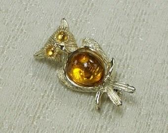 Cute Little Topaz Jelly Belly Owl Pin 1397