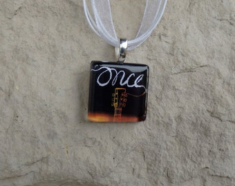 Broadway Musical Once Glass Pendant and Ribbon Necklace