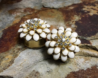 "Ivory, Gold and Rhinestone Flower Plugs, gauges   7/8, 1"", 1 1/8"