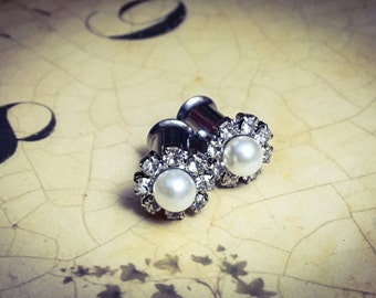 Tiny White Vintage Pearl and Rhinestone Plugs, gauges    2g, 0g