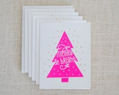 Neon, Christmas Card, Merry and Bright, Screen Print, Christmas Tree, Handmade, Christmas Card Set, Holiday Card, Unique Christmas Cards