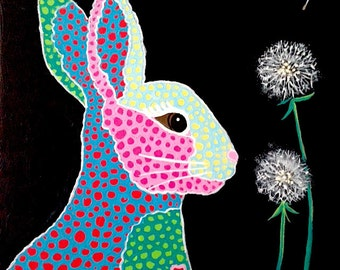 Bunny Painting with Dandelion Expressionist Art in Multi-Color Original Art