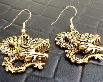 Dragon Earrings - gold Dragon - Game of thrones - Skyrim Dragon - Khaleesi Earrings - Golden Dragon - Chinese Dragon - Gold Dragon Dangles