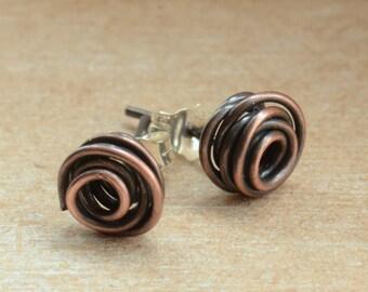 Handmade Copper Wrapped Rose Stud Earrings with Sterling Backs, UK Seller