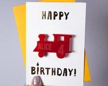 Personalised Train Birthday Badge Card - Card for Train Lover - Personalised Train Badge - Age Badge Card - Birthday Greetings Card