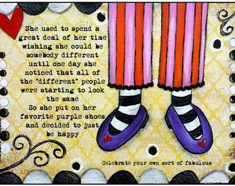 Inspirational Mixed Media Art Print, Purple Shoes