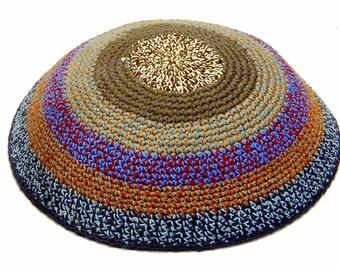 Knitted Crochet Multicolor Stripes Frik Kippah Yarmulke Yamaka Judaica 18 cm
