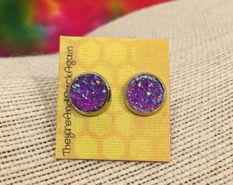 10mm Metallic Purple Faux Druzy Stud Earrings