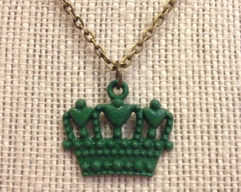"18"" Green Crown Necklace"