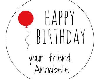 20 Balloon Stickers, Happy Birthday Labels, Packaging Labels, Birthday Stickers, Favor Stickers, Personalized, Your Friend Stickers, Party