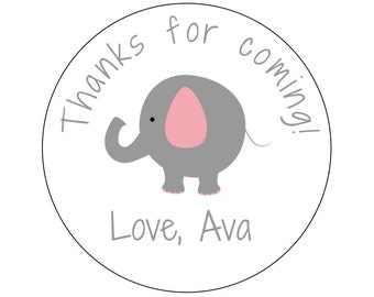 12 Elephant Stickers, Thank You Labels, Elephant Theme, Elephant Birthday, Elephant Stickers, Pink Elephant, Girl Birthday, Baby Shower