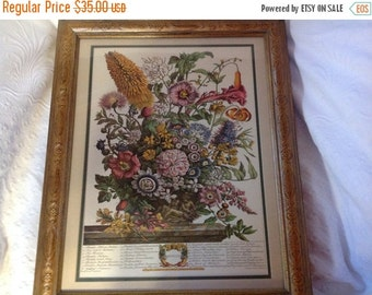 On Sale Vintage Framed Floral Print by Rob Furber Month of August